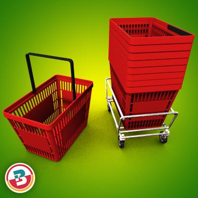 3D Model of Grocery Basket - 3D Render 2