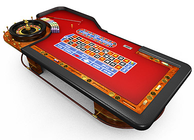 3D model red roulette table