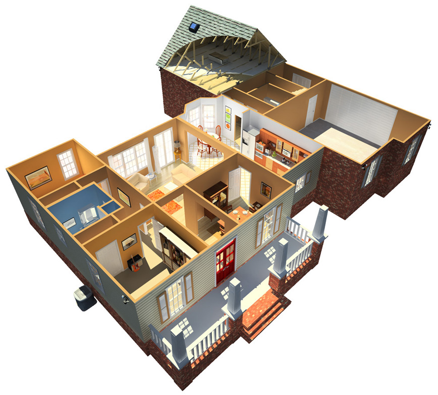 3d architectural models bluebrain 3d model library for House designs 3d model