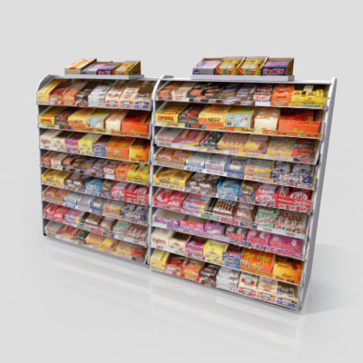 3D Model of Gas station / convenience store confectionery shelves stocked with chocolate bar - 3D Render 0