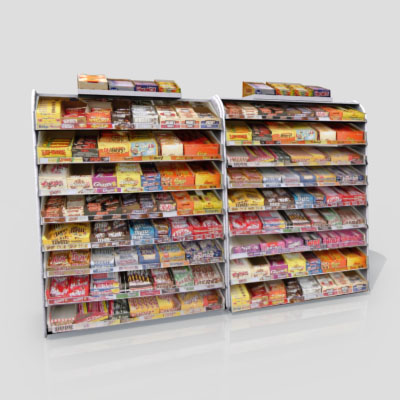 3D Model of Gas station / convenience store confectionery shelves stocked with chocolate bar - 3D Render 1