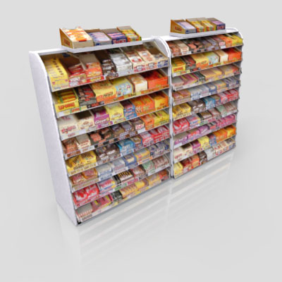 3D Model of Gas station / convenience store confectionery shelves stocked with chocolate bar - 3D Render 2