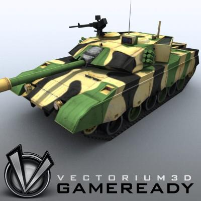 3D Model of Game-ready model of modern Chinese main battle tank ZTZ96 (Type 96) with two RGB textures: 1024x1024 for tank and 1024x512 for track and wheels. - 3D Render 1