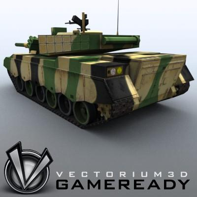 3D Model of Game-ready model of modern Chinese main battle tank ZTZ96 (Type 96) with two RGB textures: 1024x1024 for tank and 1024x512 for track and wheels. - 3D Render 2