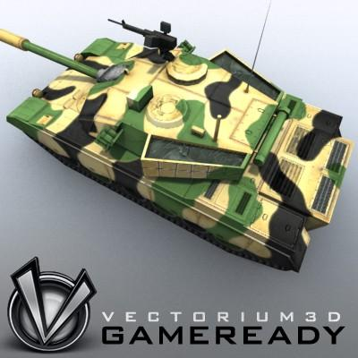 3D Model of Game-ready model of modern Chinese main battle tank ZTZ96 (Type 96) with two RGB textures: 1024x1024 for tank and 1024x512 for track and wheels. - 3D Render 3