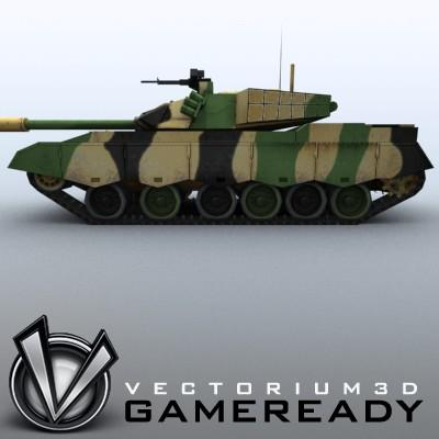 3D Model of Game-ready model of modern Chinese main battle tank ZTZ96 (Type 96) with two RGB textures: 1024x1024 for tank and 1024x512 for track and wheels. - 3D Render 4