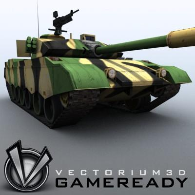 3D Model of Game-ready model of modern Chinese main battle tank ZTZ96 (Type 96) with two RGB textures: 1024x1024 for tank and 1024x512 for track and wheels. - 3D Render 5