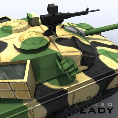 3D Model of Game-ready model of modern Chinese main battle tank ZTZ96 (Type 96) with two RGB textures: 1024x1024 for tank and 1024x512 for track and wheels. - 3D Render 6