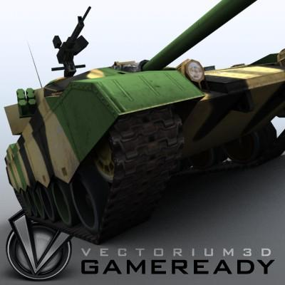 3D Model of Game-ready model of modern Chinese main battle tank ZTZ96 (Type 96) with two RGB textures: 1024x1024 for tank and 1024x512 for track and wheels. - 3D Render 8