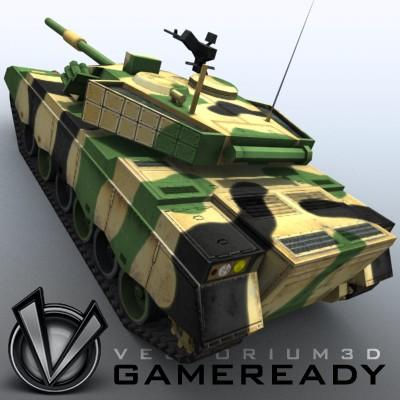 3D Model of Game-ready model of modern Chinese main battle tank ZTZ96 (Type 96) with two RGB textures: 1024x1024 for tank and 1024x512 for track and wheels. - 3D Render 9