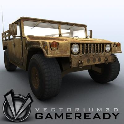 3D Model of Low poly model of HUMVEE with one 1024x1024 diffusion/opacity TGA texture - 3D Render 4
