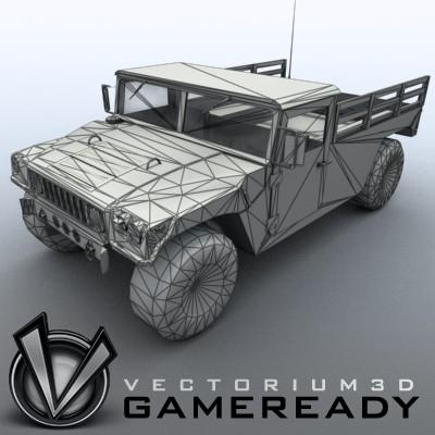 3D Model of Low poly model of HUMVEE with one 1024x1024 diffusion/opacity TGA texture - 3D Render 5