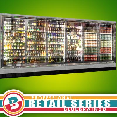 3D Model of Grocery Store Freezer Wall - 3D Render 0