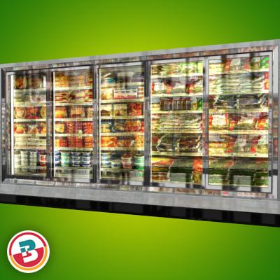 3D Model of Grocery Store Freezer Wall - 3D Render 2