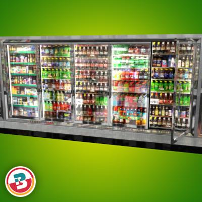 3D Model of Grocery Store Freezer Wall - 3D Render 3