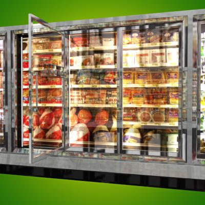 3D Model of Grocery Store Freezer Wall - 3D Render 5