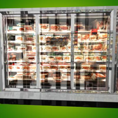 3D Model of Grocery Store Freezer Wall - 3D Render 7